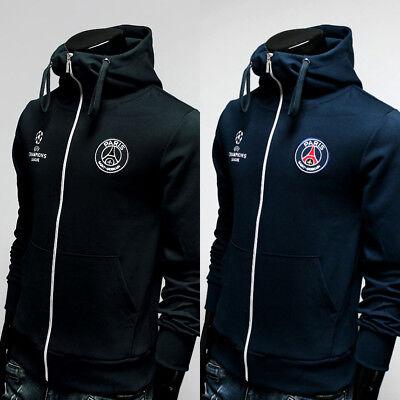 Free Gift +Paris Saint Germain Full Zip Hoodie Soccer Team Turtleneck - Soccer Team Gifts