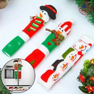 Snowman Christmas Decorations (Refrigerator Handle Covers Fridge Door Snowman Kitchen Christmas)