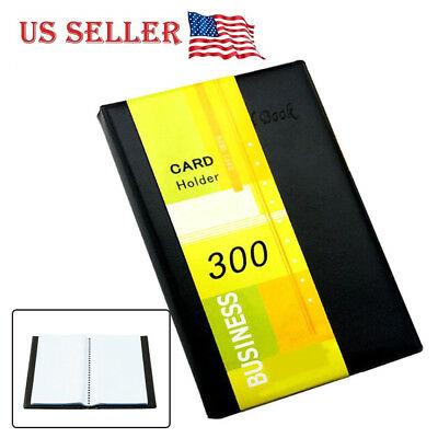 New Business Card Holder Book Pu Leather 300 Name Cards Organizer Durable Black