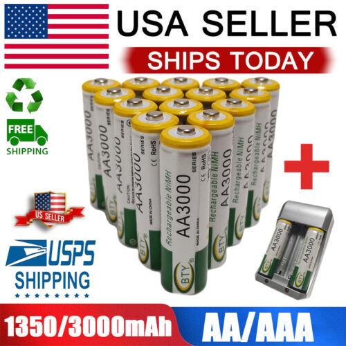 AA/AAA Battery Rechargeable 3000/1350mAh For LED Flashlight 4-100pcs 1.2V Lot Consumer Electronics