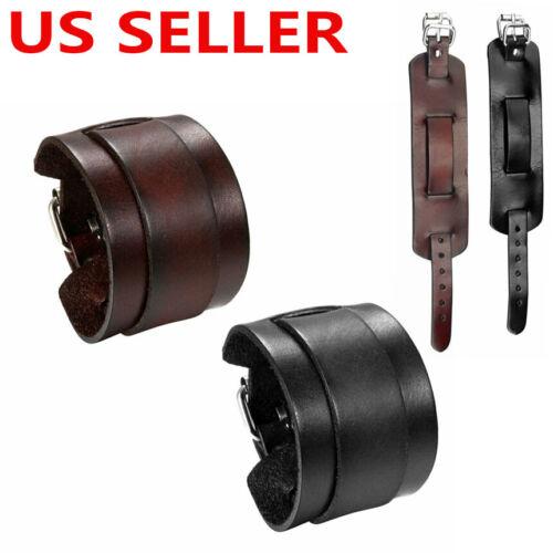 Men's Punk Wide Genuine Leather Belt Wristband Bangle Cuff Bracelet Adjustable Bracelets