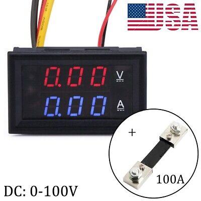 Dc 0-100v Digital Amp Volt Meter Voltmeter Ammeter With Current Shunt 100a