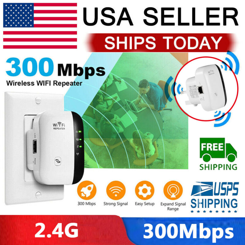 US 300Mbps Wireless WiFi Repeater Signal Super Booster Amplifier Range Extender