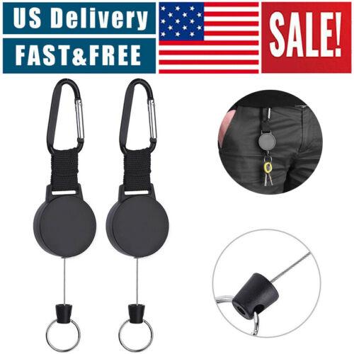 Retractable Key Tool Reel Holder Steel Clip Chain Belt Heavy Duty Split Black Collectibles