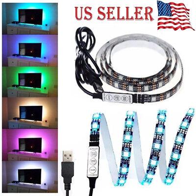 3FT/1M Computer TV Backlight 5V USB LED strip Light 5050 RBG Background Lights (Led Computer)