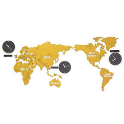 Eco-friendly MDF DIY Wood World Map Time Non-Ticking Silent Wall Clock Yellow