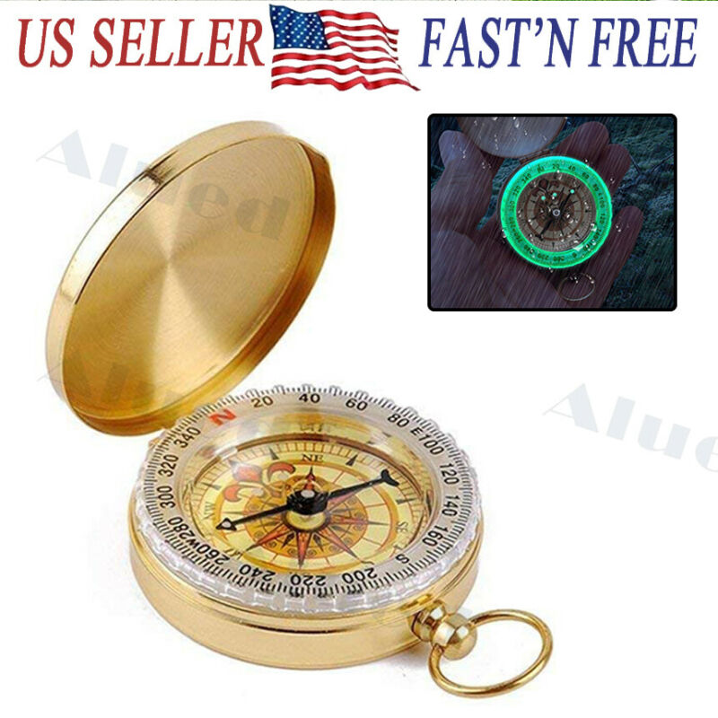 Portable Compass Brass Keychain Watch Pocket Outdoor Camping Hiking Navigation