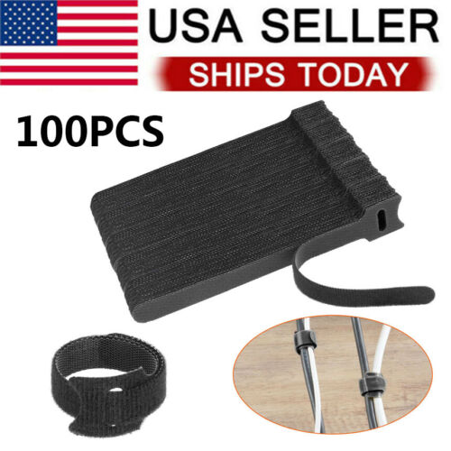 100 X Cable Straps Reusable Fastening Organizer Black Wire Cord Hook Loop Ties Cable Ties & Organizers