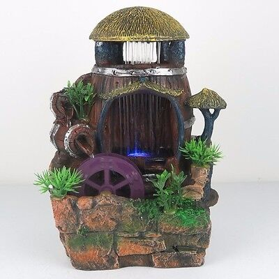 "Water Fountain w/ LED Lights Watermill Zen Indoor Home Decor 11""H New"