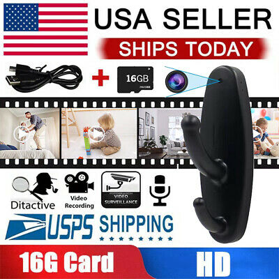 Wireless Spy Camera Motion Detection Hidden Clothes Hook DVR Nanny Cam 16G CARD