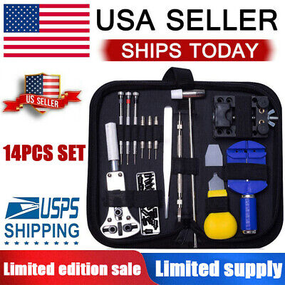 Watch Repair Kit Professional Spring Pin Bar Tool Set With Carrying Case US