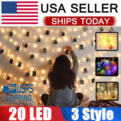 20LED Photo Clips String Lights/Holder Indoor Fairy String Lights Hanging Photos ()