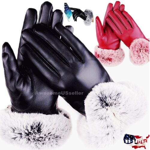 Women Touch Screen Winter Snow Gloves Windproof Warm Waterproof Leather Thick