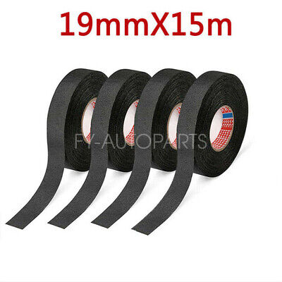 Circuit Wiring Harness Dedicated High Temperature Cloth Tape Wiring Harness Tape Heat-resistant Adhesive Cloth Fabric Tape 2pcs//25 MM X 15 M Black Car Auto Vehicle Trucks Conductive Fabric Cloth Tape