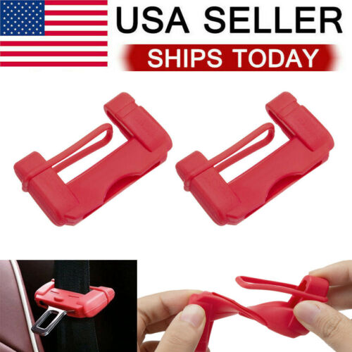 2X Red Car Seat Belt Buckle Clip Silicone Anti-Scratch Cover Safety Accessories Car & Truck Parts