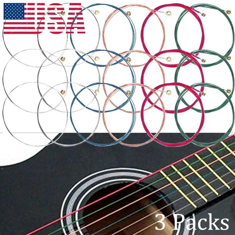 3 Set Guitar Strings 1st-6th String Colorful Acoustic Steel Strings Wire Copper