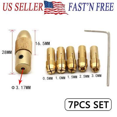 0.5-3mm Electric Copper Drill Bit Collet Set Micro Board Wood Twist 3.17mm Hole