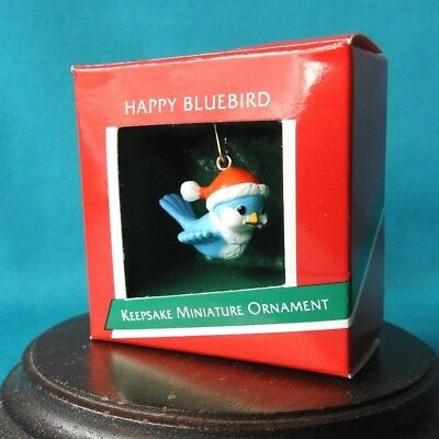 Hallmark  Miniature Ornament 1989 Happy Bluebird Santa  Blue Jay Bird HTF