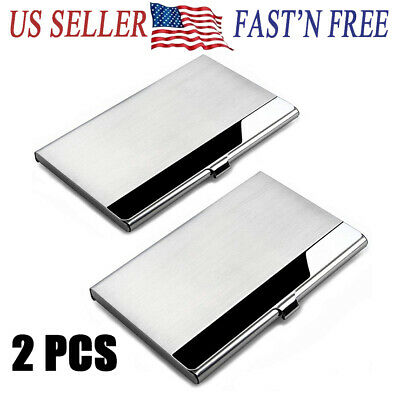 2X Stainless Pocket Business Card Holder Case  ID Credit Name Box Steel Wallet](Name Card Holder)