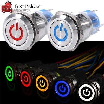 19mm 12v Led Push Button Switch Power Symbol On-off Carlatch Metal Waterproof Us