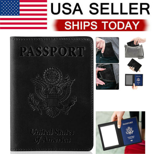 Leather Passport Travel Wallet Blocking Case Cover Holder For Vaccine Card Passport & ID Holders