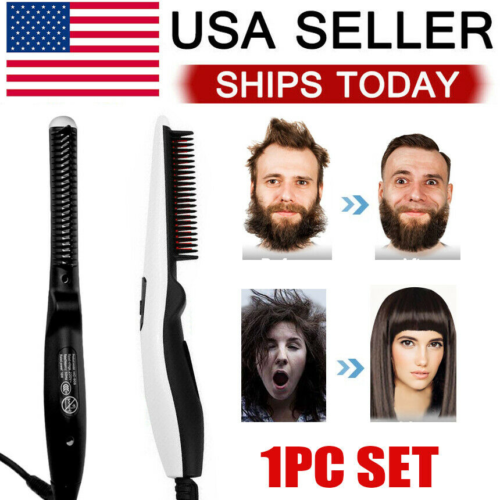 Beard Straightener Comb Quick Heated Brush Styler For Mens Pro Hair Electric Hair Care & Styling