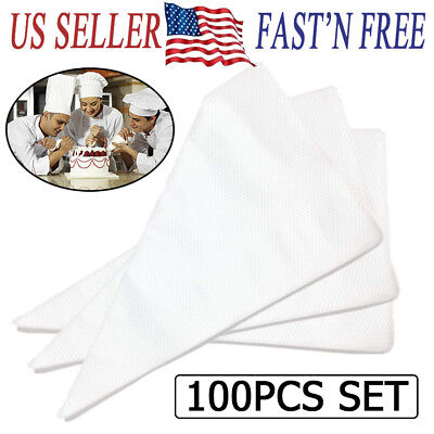 100pcs Large Disposable Pastry Bag Icing Piping Cake Cupcake Decorating Bags - Cupcake Decorating
