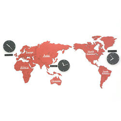 Eco-friendly MDF DIY Wood World Map Time Non-Ticking Silent Wall Clock Red