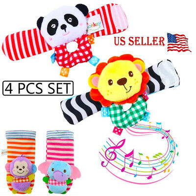 4Pcs set Cute Animal Infant Baby Kids Hand Wrist Bell Foot Sock Rattles Soft Toy ()