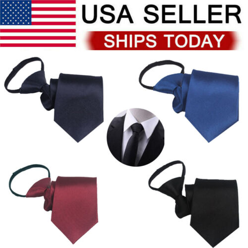 Men's Solid Color Ready Knot Pre Tied Formal Zipper Tie Neck Wear Gift US Clothing, Shoes & Accessories