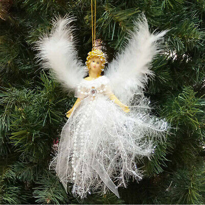 Diamond Crystal Angel Christmas Birthstone Tree Ornament with Winged Feathers ()