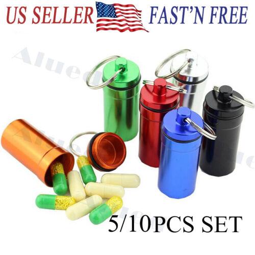5/10PCS Pill Box Keychain Medicine Case Bottle Drug Holder C