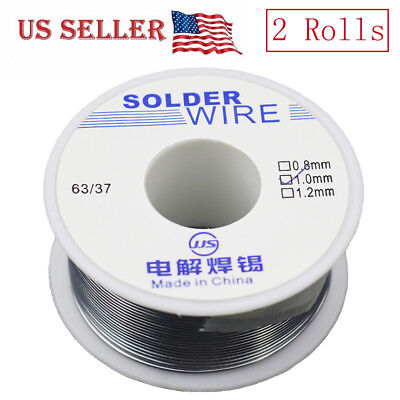 2 Roll 6337 Tin Lead Rosin Core Flux Solder Wire Electrical Solderding 1mm 100g