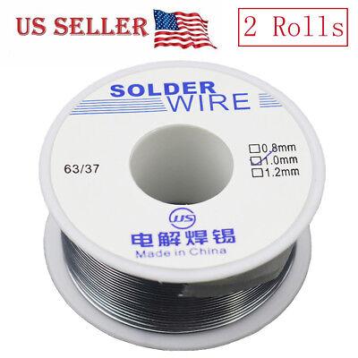 2 Roll 6337 Tin Lead Rosin Core Flux Solder Wire Electrical Solderding 1mm 100g
