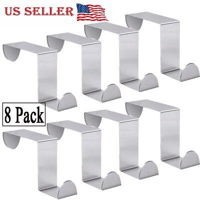 8 Pack Single Over Door Hanger Hooks Behind Back of Door stainless steel