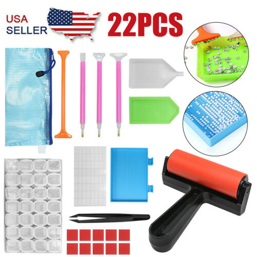 22Pcs 5D Diamonds Painting Tools and Accessories Kits Roller Storage Bag Crafts