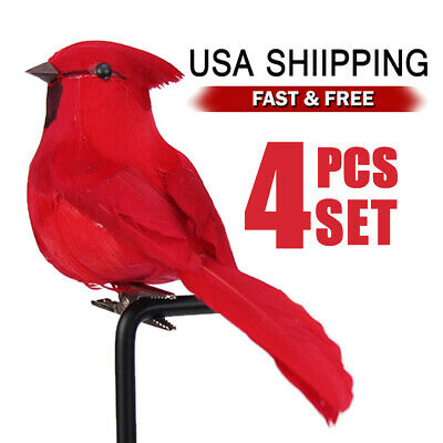 Red Christmas Decorations (4x Clip-on Mini Fake Birds Red Bird Christmas Tree Ornaments Festival Xmas)