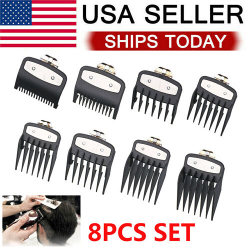 8Pcs/Set Hair Clipper Limit Comb Guide Attachment Multi Size Barber Tool Electric Shavers