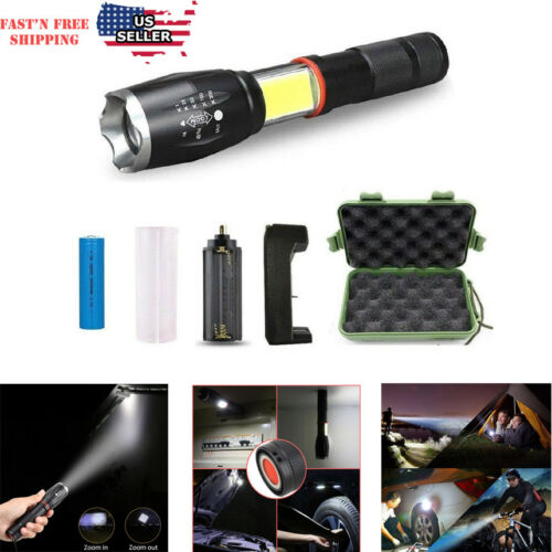 LED Flashlight COB Lantern Zoomable 3000 Lumen Bright Torch 5 Model with Battery Camping & Hiking