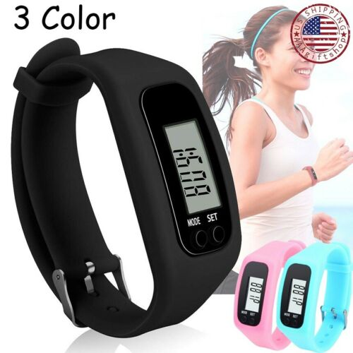 digital lcd pedometer watch bracelet run walking