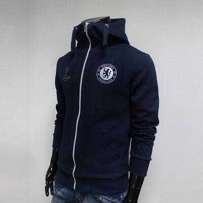 Chelsea FC Full Zip Hoodie Soccer Team Jacket Turtleneck Hooded Outer Navy NSHZ ()