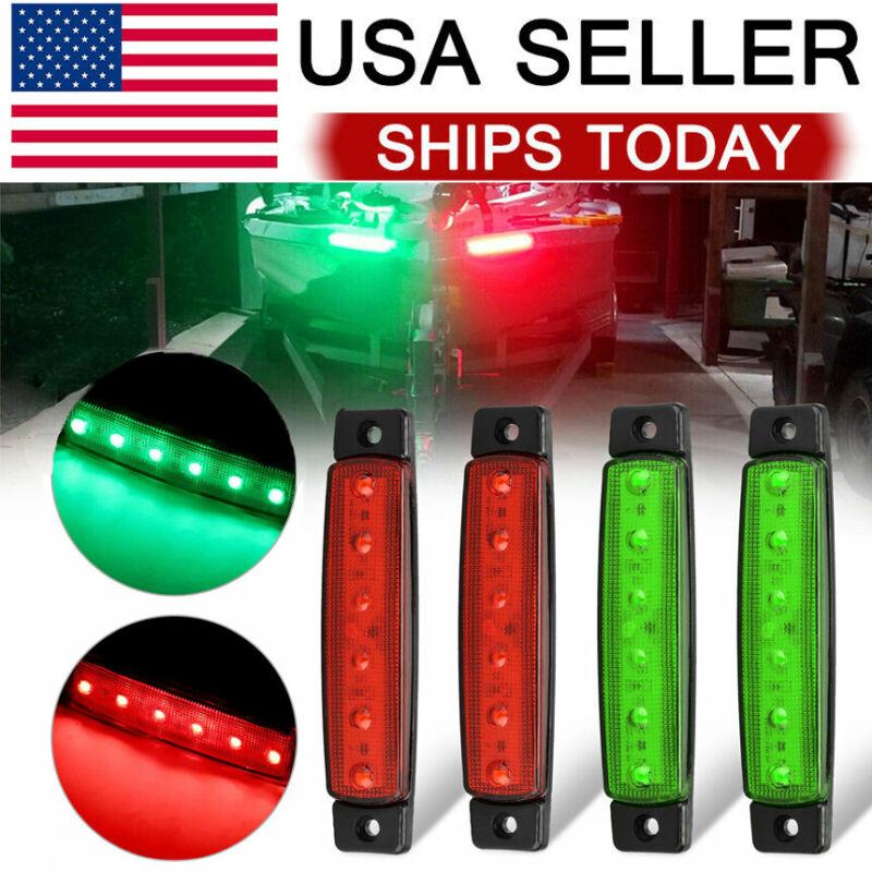 4pcs Red Green Boat Navigation LED Lights Stern Lights Boats Starboard Light 12V