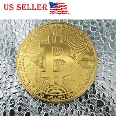 1 PC Gold Bitcoin Commemorative Round Collectors Coin Gold Plated US Ships