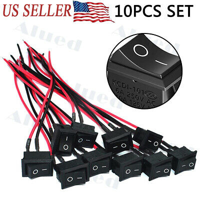 10pcs 6a250v 10a125v Onoff Boat Wired Rocker Switch Toggle Switch With Lines