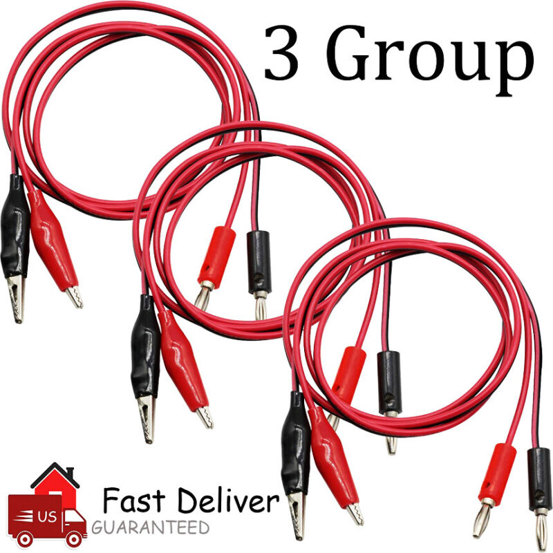 6PCS Banana Plug to Crocodile Alligator Clip Test Lead Wire Cable Double Ended