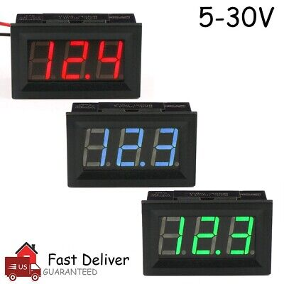 Led Digital Display Voltmeter Car Motorcycle Voltage Gauge Panel Meter 12v24v