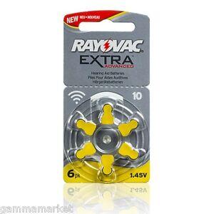 60-pile-RAYOVAC-EXTRA-10-per-apparecchi-acustici-Nuovo-modello-MAGGIOR-DURATA