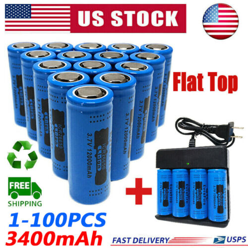 3400mAh 26650 Battery GTL Fire Li-ion 3.7V Flat Top Rechargeable For Torch Lot Consumer Electronics