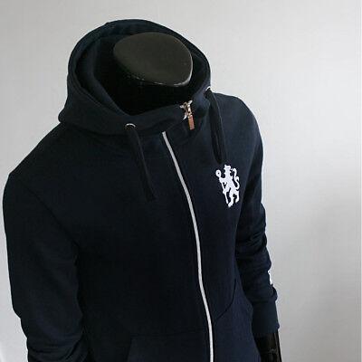 Chelsea FC Full Zip Hoodie Soccer Team Jacket Turtleneck Hooded Outer Navy ()