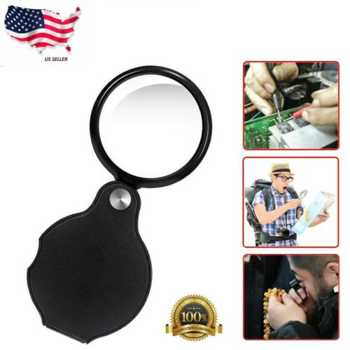 1pc 10X Mini Magnifying Glass Folding Pocket Magnifier Bigeye Glass Loupe US